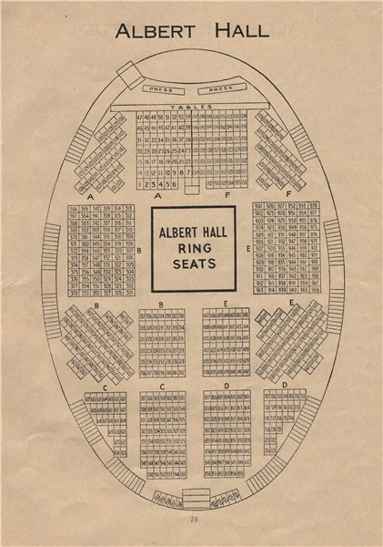 Associate Product ROYAL ALBERT HALL. Vintage seating plan. Ring Seats. London. Concert Hall 1936