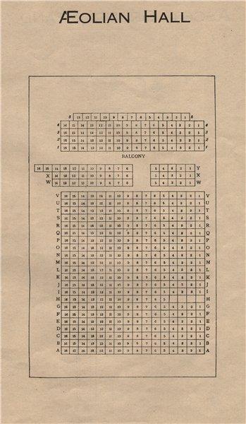 Associate Product AEOLIAN HALL. Vintage seating plan. London. Concert Hall. New Bond Street 1936