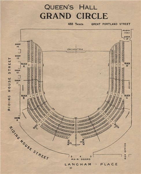 Associate Product QUEEN'S HALL. Seating plan. Grand Circle. Concert Hall. Langham Place 1936