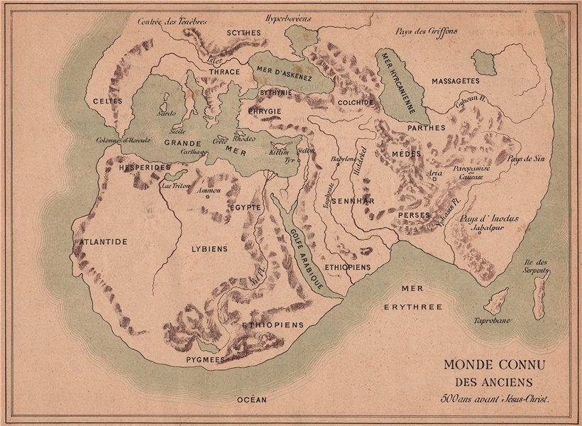 Associate Product ANCIENT WORLD. Monde Connu des Anciens 1887 old antique vintage map plan chart