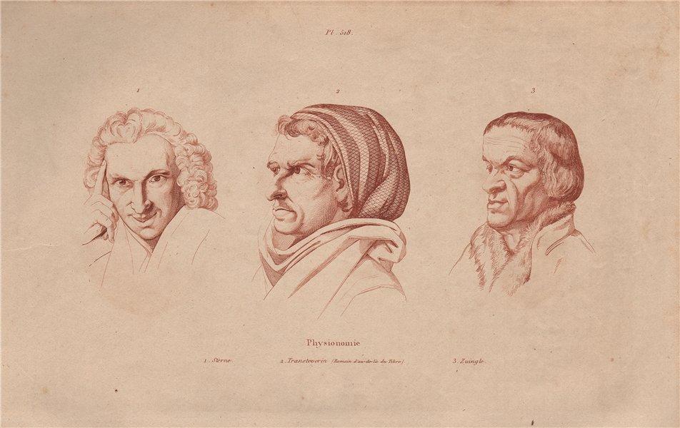 PHYSIOGNOMY. Sterne (Tern). Transteverin. Zuingle 1833 old antique print