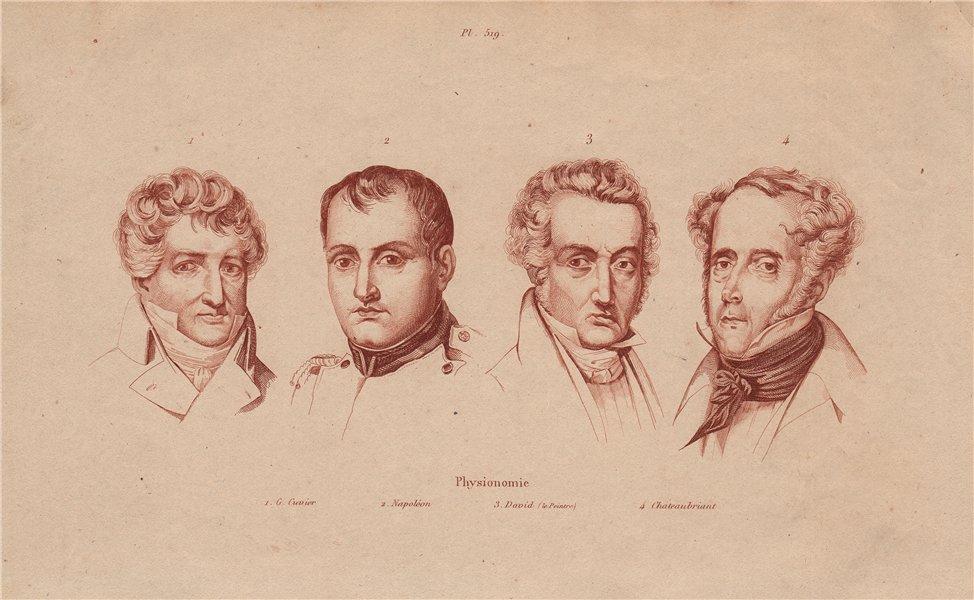 PHYSIOGNOMY. Cuvier. Napoléon. Jacques-Louis David. Chateaubriant 1833 print