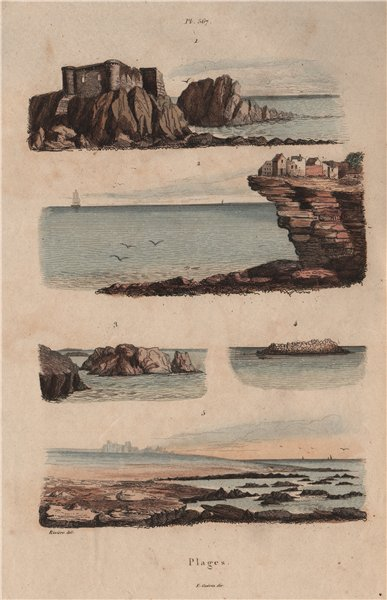 Associate Product SEASCAPES. Plages. Beaches. Coastal scenery. I 1833 old antique print picture