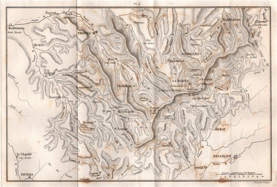 Associate Product BURGUNDY BOURGOGNE. Langres Dijon Troyes Auxerre Chablis Sens Tonnerre 1837 map