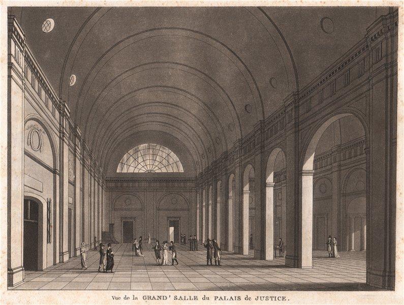 Associate Product PARIS. Grand' Salle du Palais de Justice. Aquatint 1808 old antique print