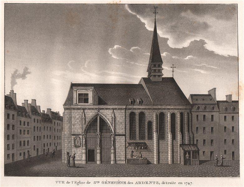 PARIS. Eglise de Sainte-Géneviève des Ardents, détruite en 1747. Aquatint 1808
