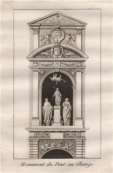 PARIS. Monument de pont-au-change. Aquatint 1808 old antique print picture