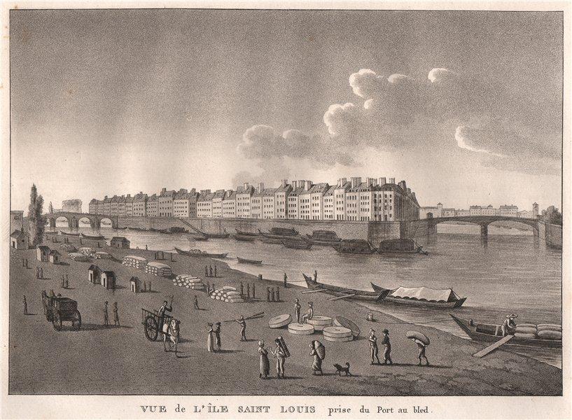 Associate Product PARIS. Île Saint Louis prise du Port au Bled. Aquatint 1808 old antique print