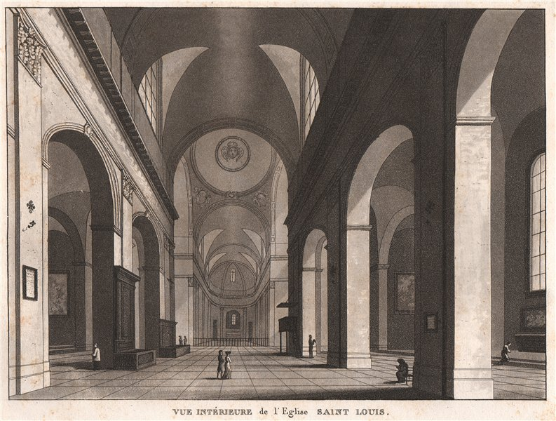 Associate Product PARIS. Eglise Saint Louis. Aquatint 1808 old antique vintage print picture