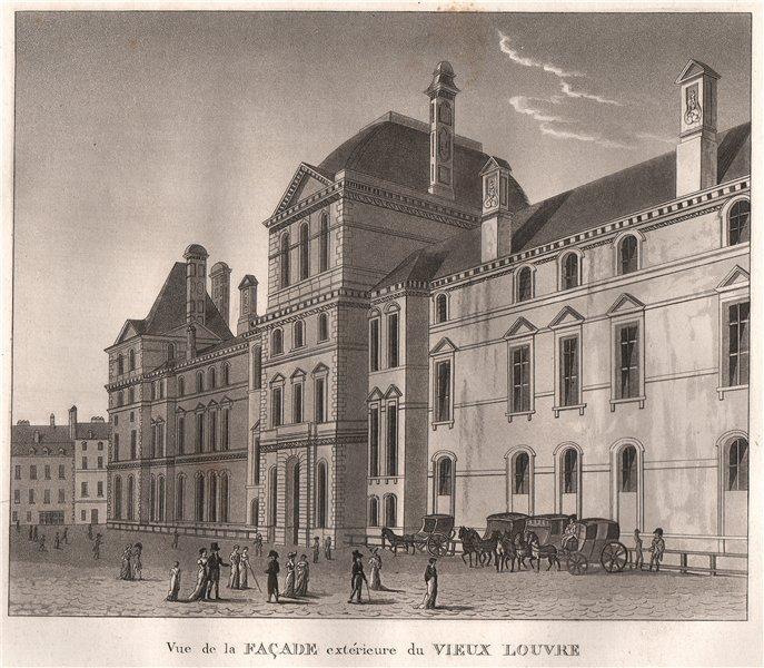 Associate Product PARIS. Façade extérieure du Vieux Louvre. Aquatint 1808 old antique print