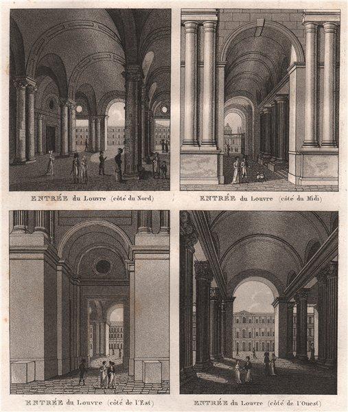 Associate Product ENTRÉES DU LOUVRE. Côtés Nord Midi Est Ouest. Aquatint 1808 old antique print