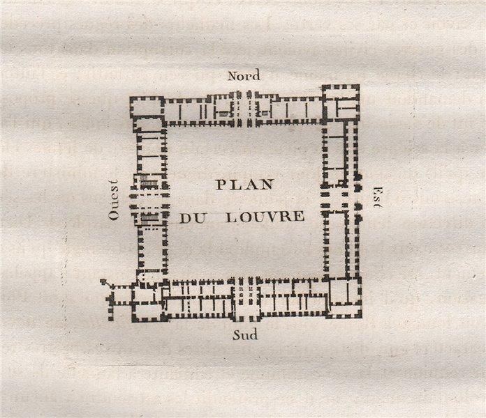 Associate Product PARIS. Plan du Louvre. Aquatint. SMALL 1808 old antique vintage print picture