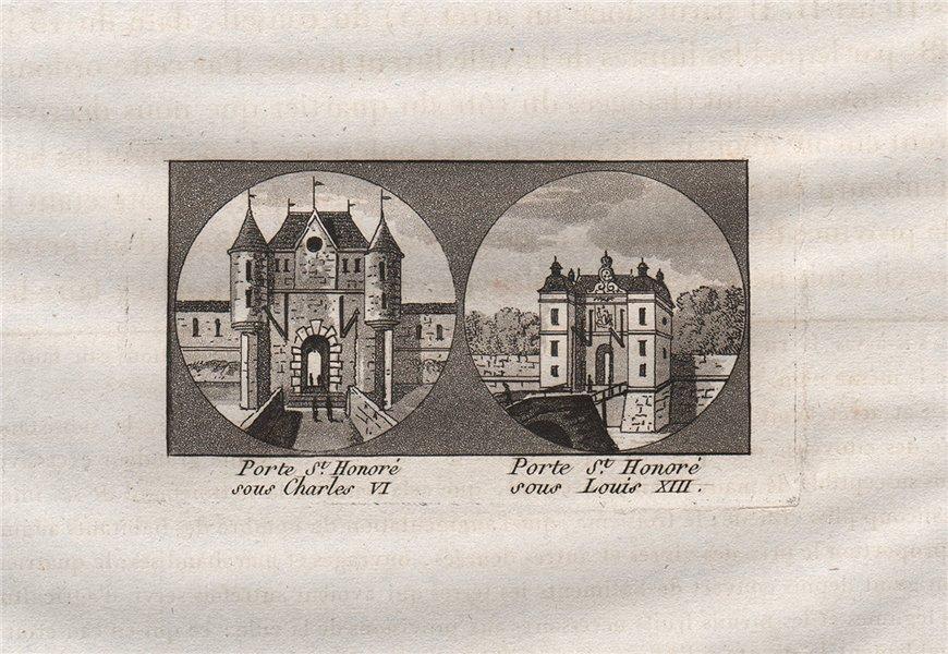 Associate Product PARIS. Porte Saint-Honoré sous Charles VI et Louis XIII. Aquatint. SMALL 1808
