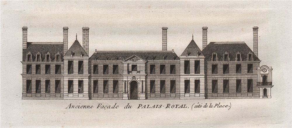 Associate Product PARIS. Ancienne Facade du Palais-Royal (côté de la Place) . Aquatint 1808