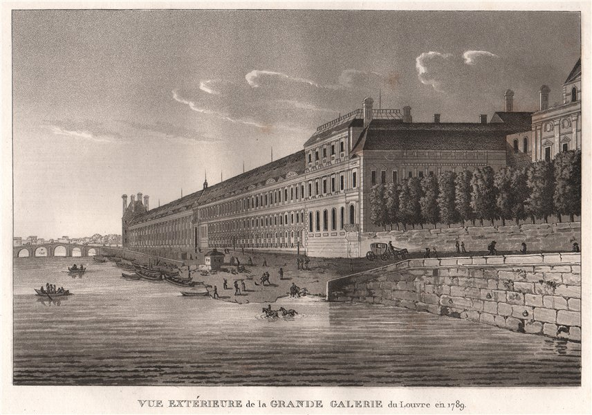 Associate Product PARIS. Grande Galerie du Louvre en 1789. Aquatint 1808 old antique print
