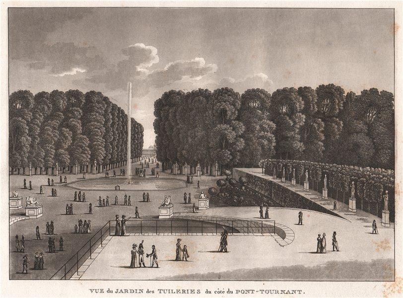 Associate Product PARIS. Jardin des Tuileries du côté du Pont-Tournant. Aquatint 1808 old print