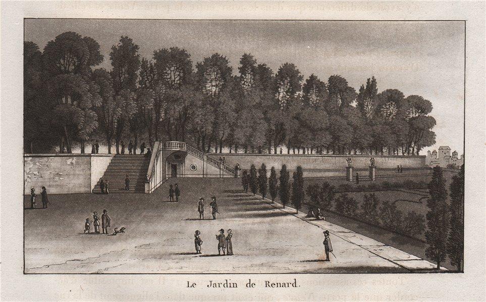 Associate Product PARIS. Le Jardin de Renard. Tuileries. Aquatint 1808 old antique print picture