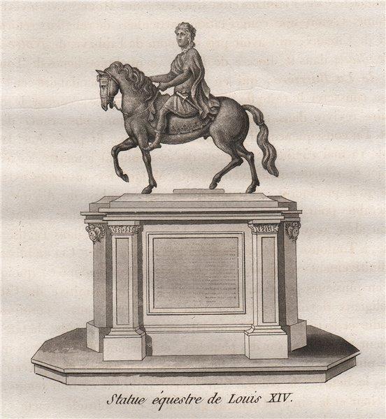 Associate Product PARIS. Statue équestre de Louis XIV. Aquatint 1808 old antique print picture