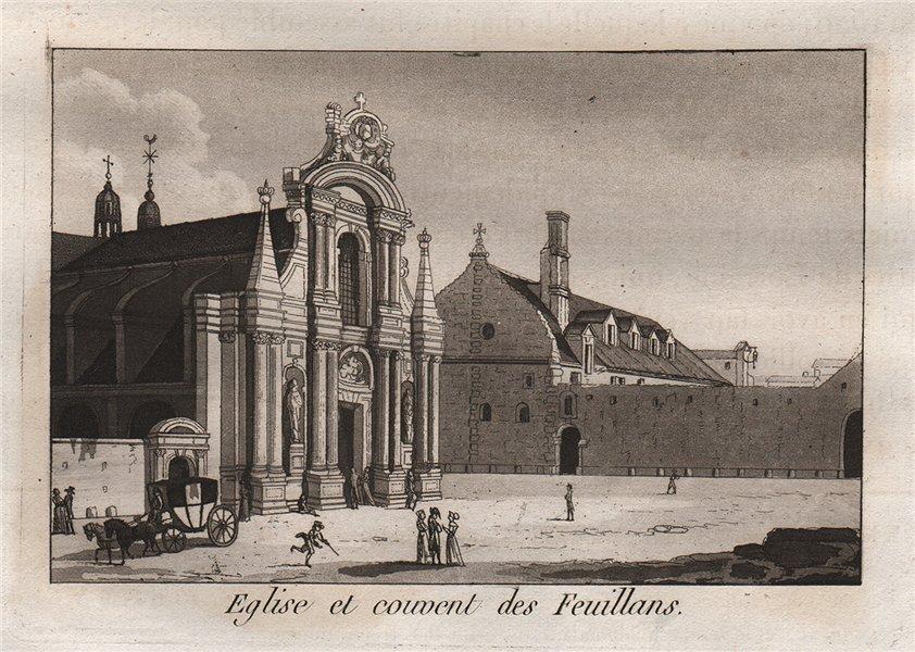 Associate Product PARIS. Eglise et Couvent des Feuillans. Aquatint. SMALL 1808 old antique print
