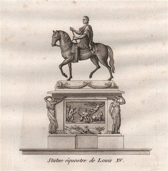 Associate Product PARIS. Statue équestre de Louis XV. Aquatint 1808 old antique print picture