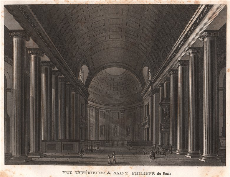 Associate Product PARIS. Saint Philippe du Roule. Aquatint 1808 old antique print picture