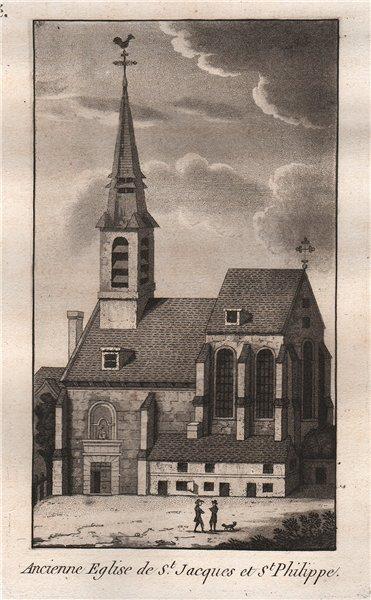Associate Product PARIS. Ancienne Eglise de Saint-Jacques et Saint-Philippe. Aquatint 1808 print