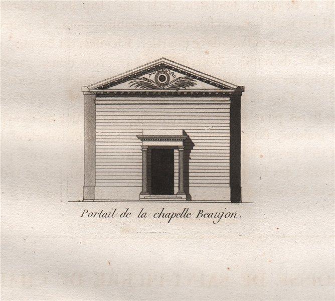 Associate Product PARIS. Portail de la chapelle Beaujon. Aquatint. SMALL 1808 old antique print