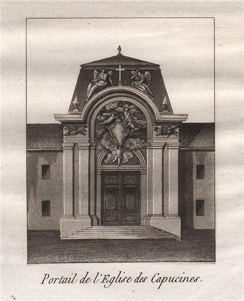 Associate Product PARIS. Portail de L'Eglise des Capucines. Aquatint. SMALL 1808 old print