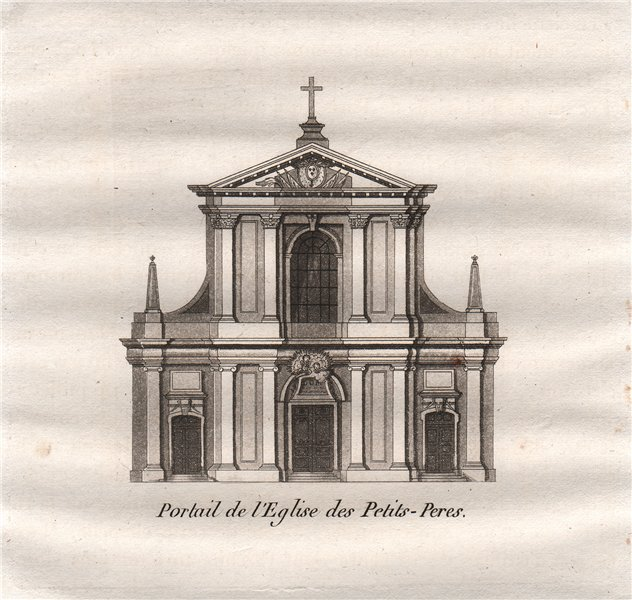 Associate Product PARIS. Portail de L'Eglise des Petits-Peres. Aquatint 1808 old antique print