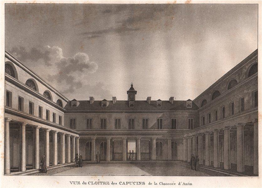 Associate Product PARIS. Cloître des Capucins de la Chaussée d'Antin. Aquatint 1808 old print