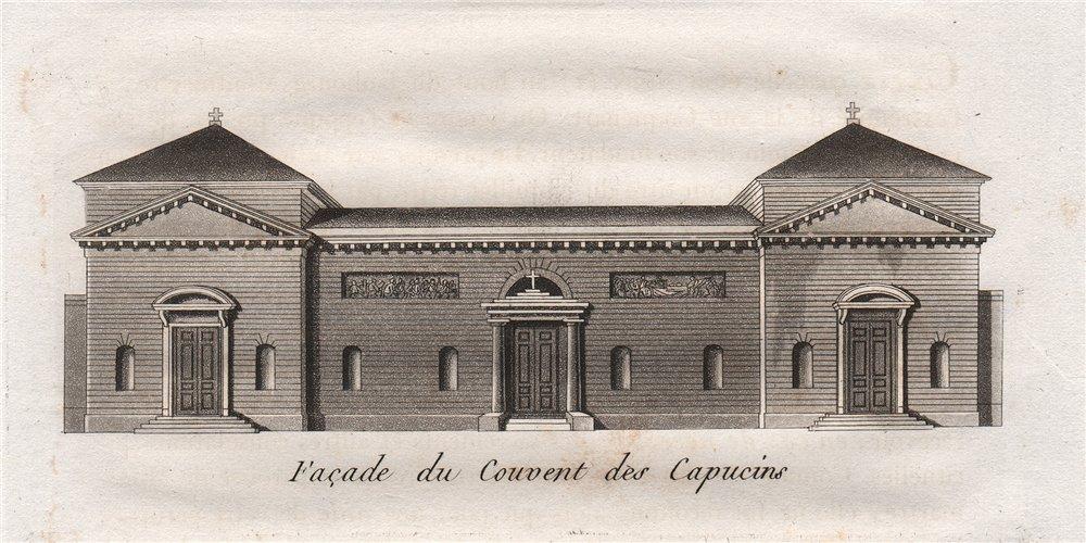 Associate Product PARIS. Façade du Cauvent des Capucins. Aquatint 1808 old antique print picture