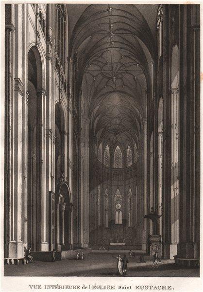 PARIS. Église Saint Eustache. Aquatint 1808 old antique vintage print picture