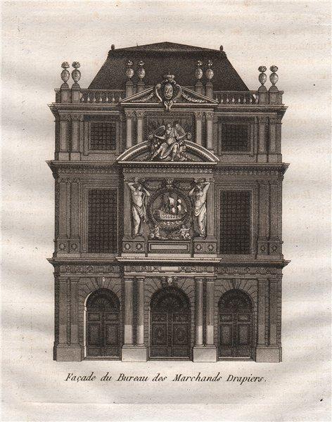 Associate Product PARIS. Façade du Bureau des Marchands Drapiers. Aquatint 1808 old print