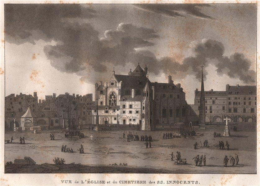 Associate Product PARIS. Église et du cimetiere des ss. Innocents. Aquatint 1808 old print