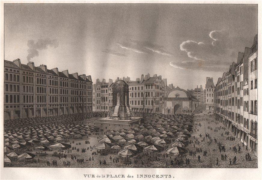 Associate Product PARIS. Place des Innocents. (Place Joachim-du-Bellay). Aquatint 1808 old print