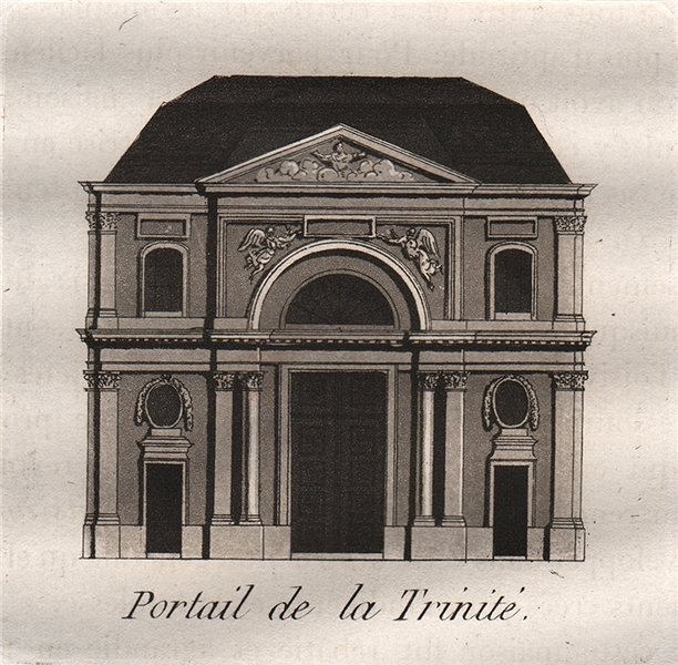Associate Product PARIS. Portail de la Trinité. Aquatint. SMALL 1808 old antique print picture
