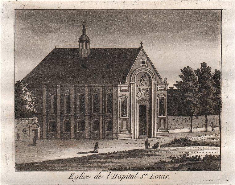 Associate Product PARIS. Eglise de L'Hôpital Saint-Louis. Aquatint 1808 old antique print