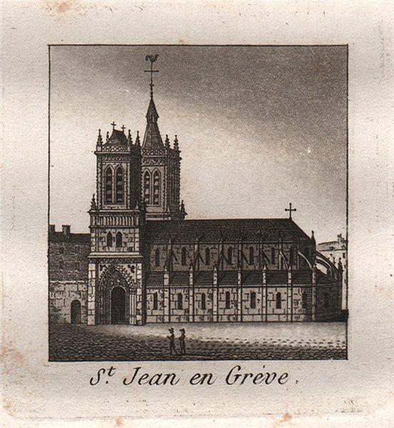 Associate Product PARIS. Saint-Jean en Gréve. Aquatint. SMALL 1808 old antique print picture