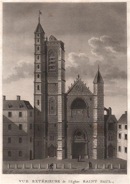 Associate Product PARIS. Eglise Saint Paul. Aquatint 1808 old antique vintage print picture