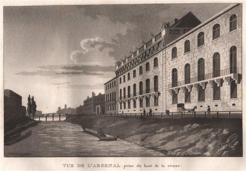 Associate Product PARIS. Arsenal prise du haut de in la riviere. Aquatint 1808 old antique print