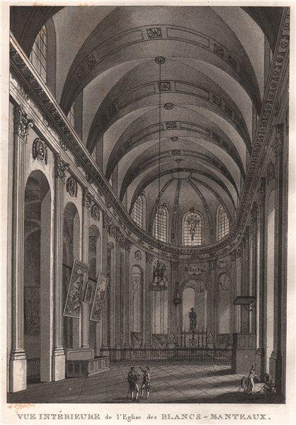 Associate Product PARIS. Église des Blancs-Manteaux. Aquatint 1808 old antique print picture