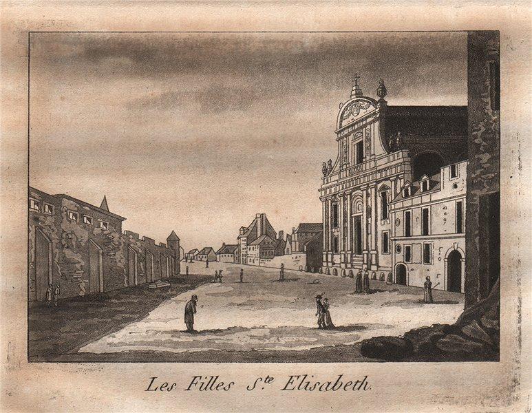 PARIS. Les Filles Sainte-Elisabeth. Aquatint 1808 old antique print picture