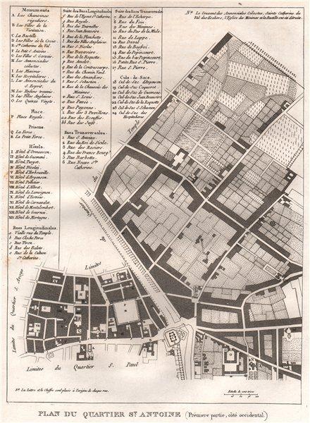 """Associate Product PARIS.""""Saint-Antoine"""".Plan Quartier.Arsenal Rocchetta Ambroise.4e 11e 1808 map"""