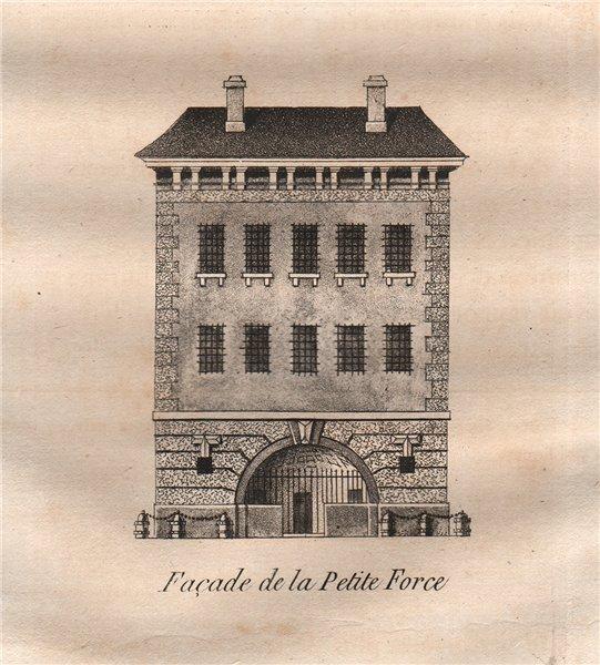 Associate Product PARIS. Façade de la Petite force. Aquatint. SMALL 1808 old antique print