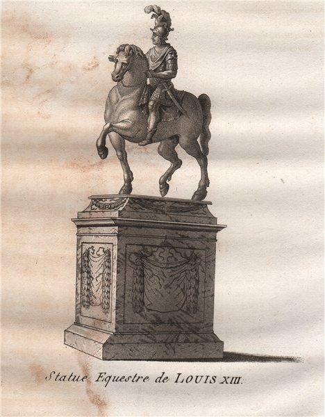 Associate Product PARIS. Statue Equestre de Louis XIII. Aquatint 1808 old antique print picture