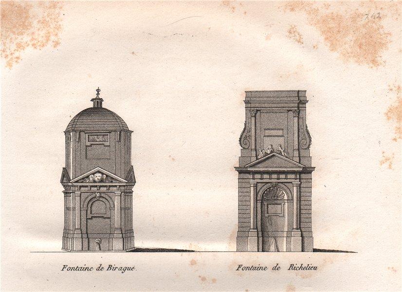 Associate Product PARIS. Fontaine de Villareggia; Fontaine de Richelieu. Aquatint 1808 old print