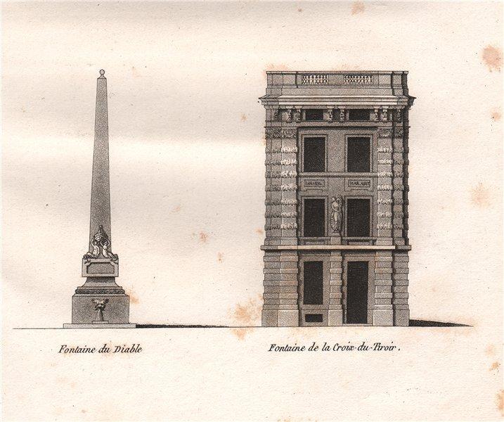 Associate Product PARIS. Fontaine du Diable; Fontaine de la Croix-du-Tiroir. Aquatint 1808 print