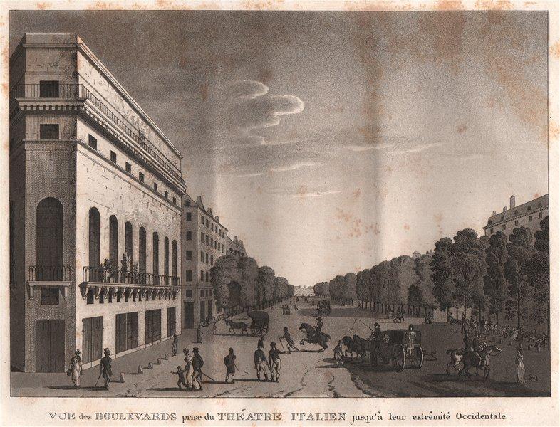 PARIS. Boulevards prise du Théatre Italien. Aquatint 1808 old antique print