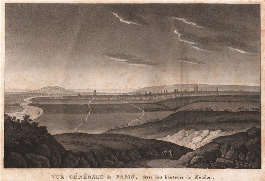 Associate Product PARIS. Vue Générale de Paris, Prise des hauteurs de Meudon. Aquatint 1808
