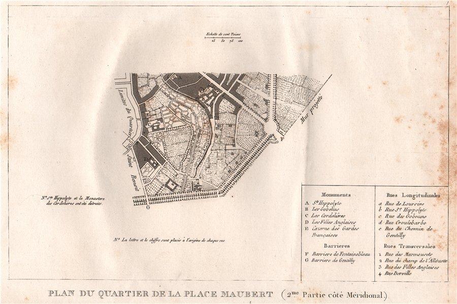 """Associate Product PARIS.""""Place Maubert""""(2/sud).Plan du Quartier.Jardin des Plants.13e 1808 map"""